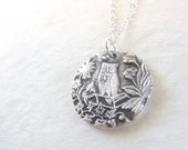 Owl in tree necklace made from vintage button from fine silver for Valentine's day