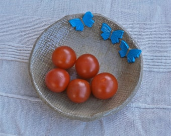 Butterfly dishes, Tapas dishes, Trinket bowls with sky blue butterflies - handbuilt stoneware
