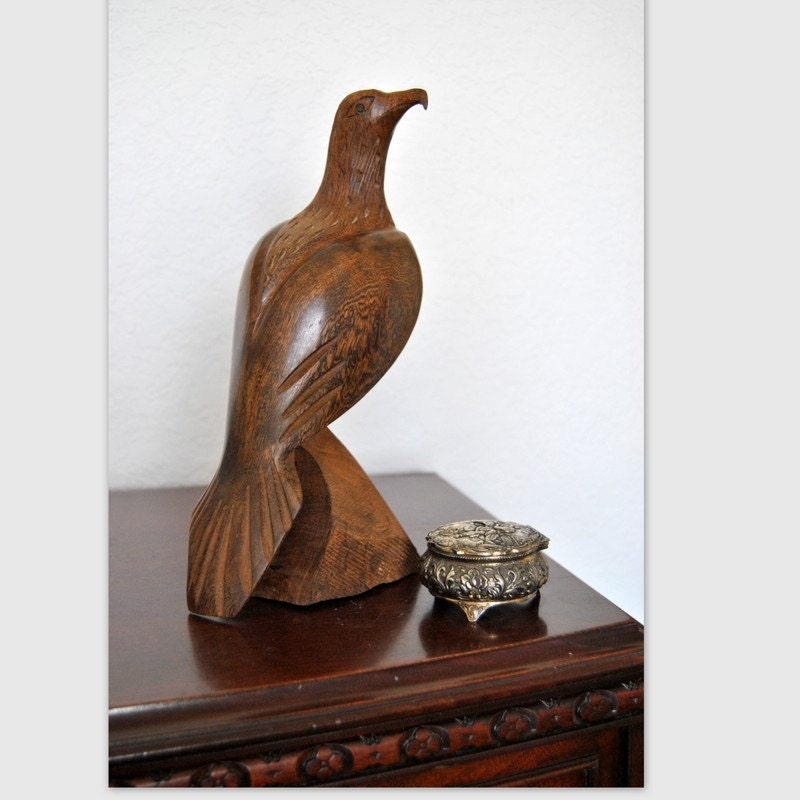 Man Cave Decor Mid Century Wood Carved Eagle Bird Carving