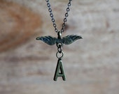 Angel Wing Personalized Necklace Minimalist Initial Necklace Mother Necklace Personalized Jewelry - N290