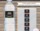 Star Wars Party Water Bottle Labels or Wrappers - INSTANT DOWNLOAD & EDITABLE template - type your own text in Adobe Reader