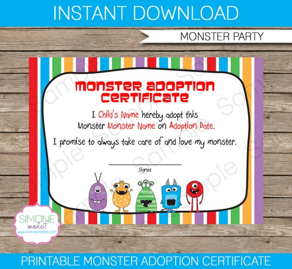 monster adoption certificate instant download printable birthday party file editable text. Black Bedroom Furniture Sets. Home Design Ideas