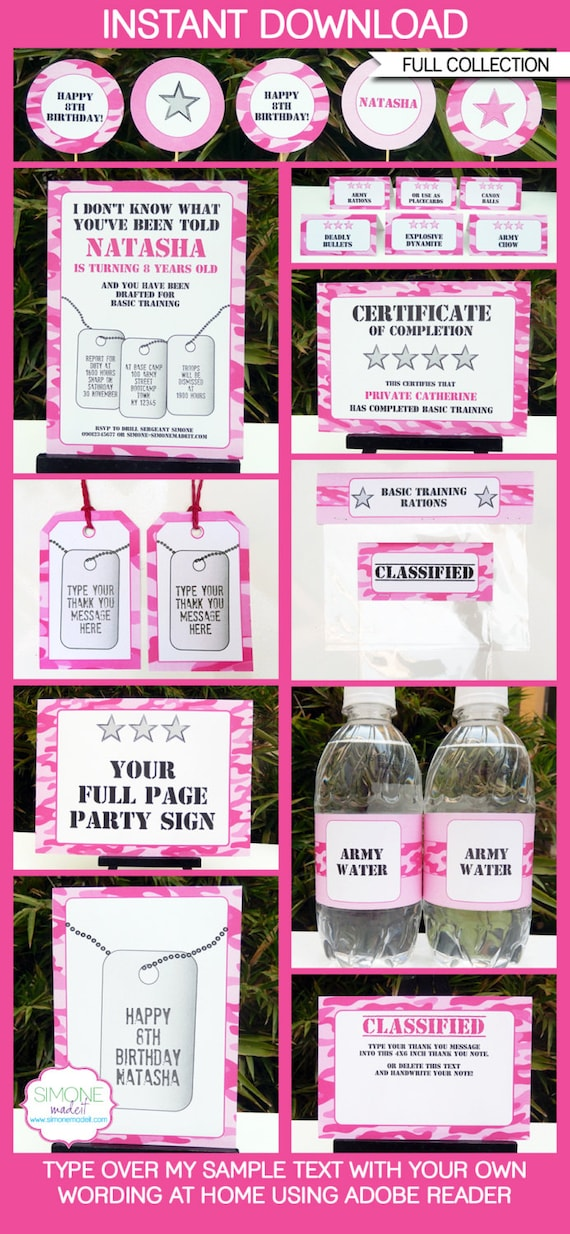 Pink camo party invitations decorations full printable for Pink camo decorations