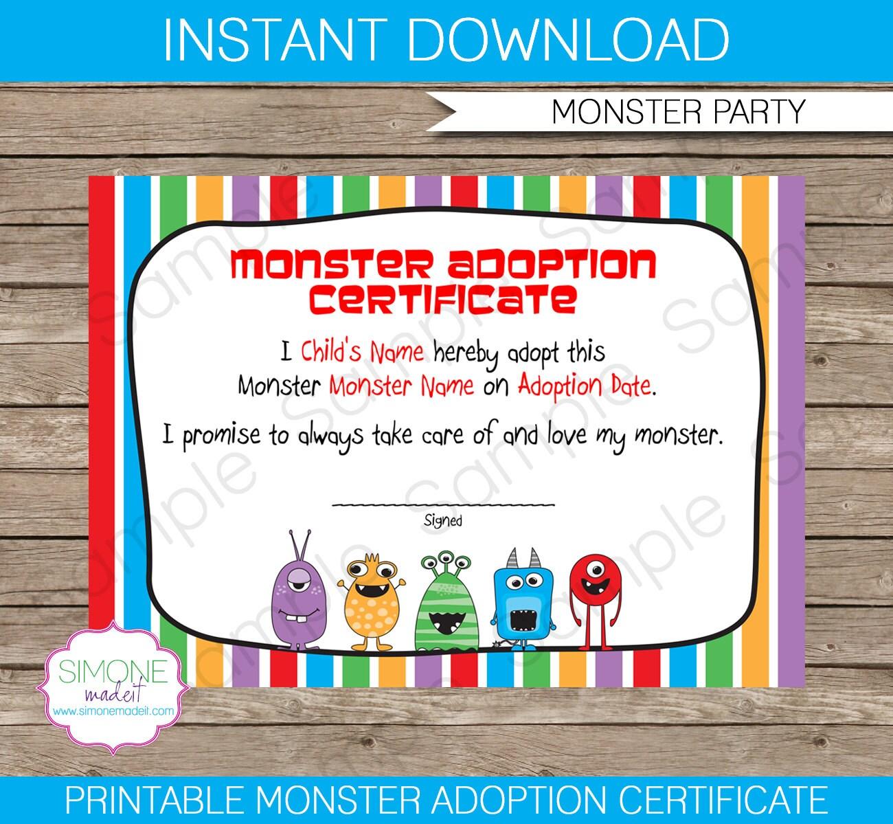 Monster Adoption Certificate Instant Download Printable