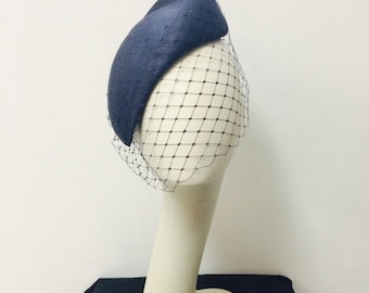 Navy blue parasisol headpiece with vintage inspired veil