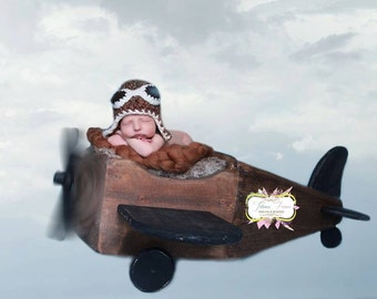 Newborn Aviator bomber pilot trapper baby boy beanie w/wood buttons GREAT photo prop. Sizes nb 1-3 & 3-6mos, 6-12mos - barley and oatmeal
