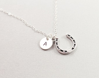Personalized horseshoe necklace - good luck charm initial necklace, sterling silver custom jewelry