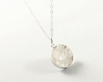 Raw crystal necklace, clear quartz necklace sterling silver rough gemstone jewelry, white rough crystal necklace, raw stone necklace