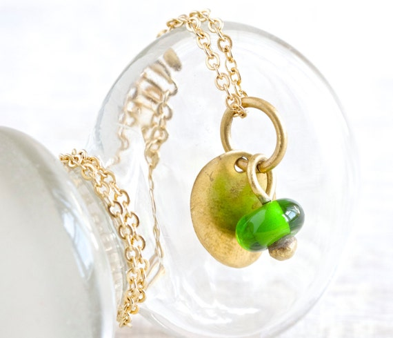 Brass and Green Glass Necklace - Unique Repurposed Vintage Jewelry
