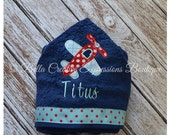 Airplane Hooded Towel - baby towel - beach towel - baby gift - baby shower gift - personalize towel - applique towel - pool towel