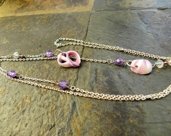 Purple Shells Lariat Style Necklace with Purple Swarovski, Rainbow Glass Beads, Varied Length Beach Style Jewelry, Beach Combed Sea Shells