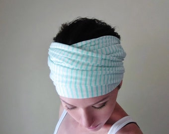 STRIPED Head Scarf  - Mint Blue and White Jersey Hair Wrap - Extra Wide Yoga Headband - Mint Stripes - Activewear Womens Hair Accessories