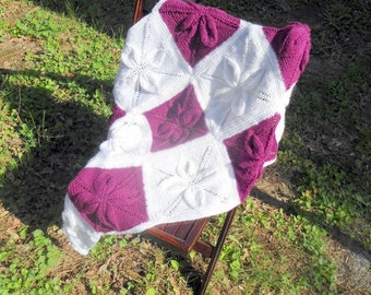 Knitted Baby Blanket,  Baby Blanket, 3 D Flower,  Girl Baby Blanket, Soft Baby Blanket, Handmade Baby Blanket, Newborn Baby Blanket