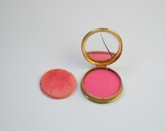 1940s Helena Rubinstein Pink Cream Rouge/Makeup Gold Tone Compact/Pin up Makeup