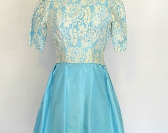 1960s Robins Egg Blue, Lace Bodice Overlay Party Tea Length Dress