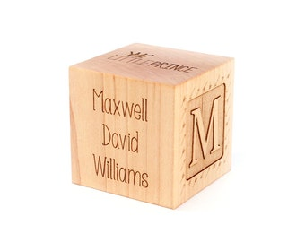 personalized BOY BIRTH BLOCK - a solid hardwood keepsake block for baby, heirloom gift with birth details, extra large,  six sides engraved