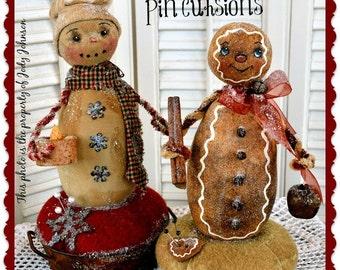 Primitive Snowman pattern, Gingerbread Pattern, Pin Cushion pattern, Cloth Doll Pattern, Christmas Pattern, Winter Thyme Pin Cushions