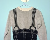 VTG Wacky Novel Pants Sweater with Suspenders XS