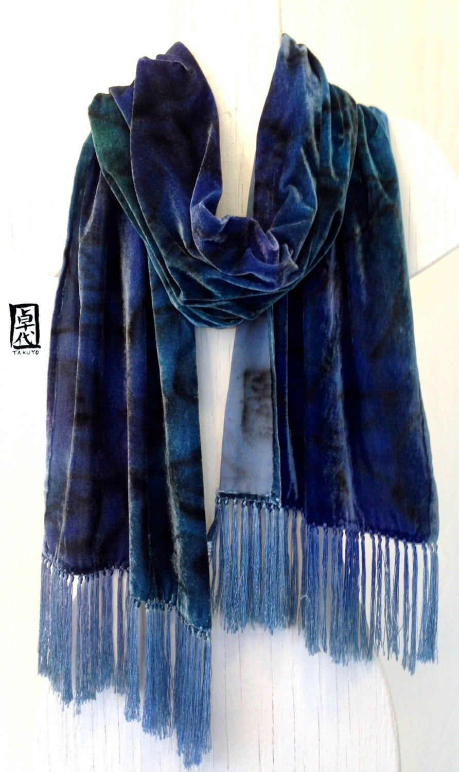 painted silk blue velvet scarf dyed blue silk