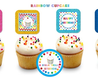 RAINBOW CUPCAKE Party TOPPERS ~ Personalized Printable Download