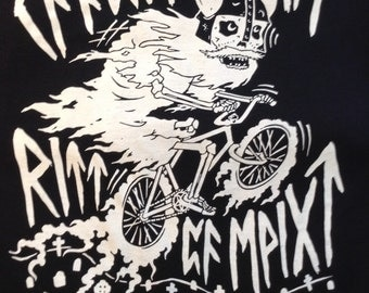 "GHOST BIKE rune ""may your ghost ride on forever"" TEE (half profits to bikes not bombs)"