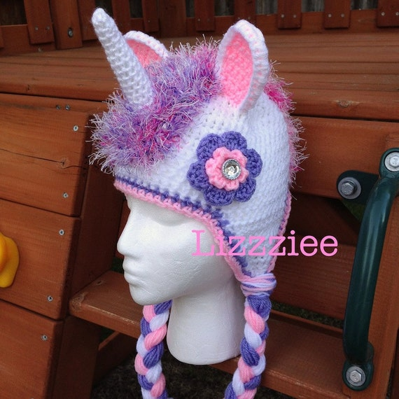 Crochet Pattern For A Unicorn Hat : Unicorn Hat Crochet Pattern PDF instructions for beanie