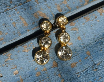 Vintage Graduated Rhinestone Dangle Earrings