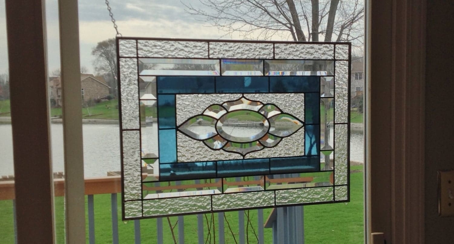 Beveled Stained Glass Window Panel Clear Steel Blue Stained