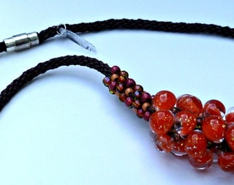 "Beaded Kumihimo OrangeRed Mini Cluster Necklace ""Spitfire"""