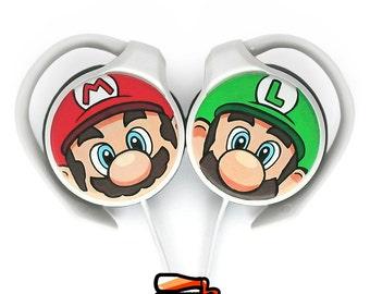 Super Mario handpainted clip headphones - Mario and Luigi - green red
