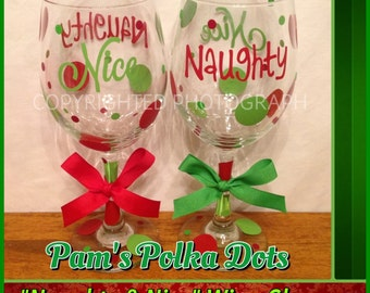 NAUGHTY & NICE Tall CHRISTMAS Wine Glass Two-Sided with Polka Dots Great Christmas Gift Red Green