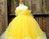 Belle Beauty and the Beast Halloween Costume- Yellow Tutu Dress - Yellow Flower Girl - Yellow Wedding or yellow theme party