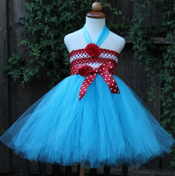 Items similar to dr seuss blue red tutu dress for birthday for Doctor who themed wedding dresses