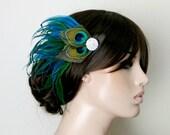 Gatsby Headpiece, Great Gatsby Wedding,1920s, Peacock,  Bridal Head Piece, Peacock Feather, Fascinator,