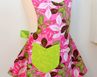 Girls Apron, Reversible Pink Leaves Girls Apron
