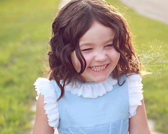 Girls Custom Smocked Cotton Dress with Lace Flutter Sleeves