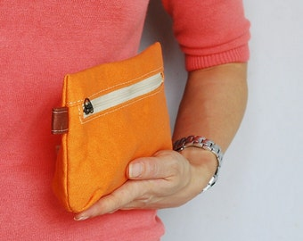 SALE 20% - Piggy Pouch in Orange - Zipper Pocket / Purse / Wallet / clutch / cosmetic bag / iphone case / travel / Women