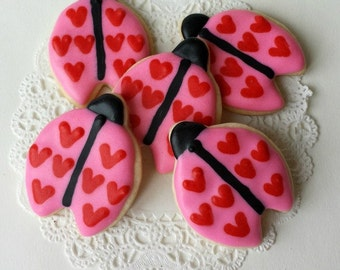 Ladybug Cookies - Valentine's Day - Mini Bites - 2 1/2 Dozen Mini Cookies