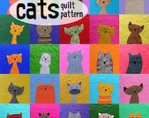 Cats Quilt Pattern Workshop (digital pattern, PDF, kitty quilt, applique)