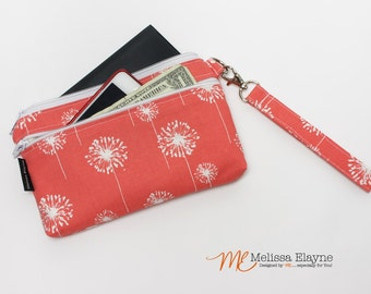 Large Wristlet Wallet, iPhone 6 Plus Wristlet, Samsung Galaxy Clutch -Handmade