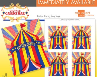 Circus Cotton Candy Tags - Printable Favor Tags - Primary Colors - DIY Print - Vintage Carnival - Instant Download