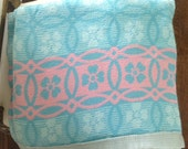 SALE ITEM...Gorgeous Aqua And Pink Vintage Blanket