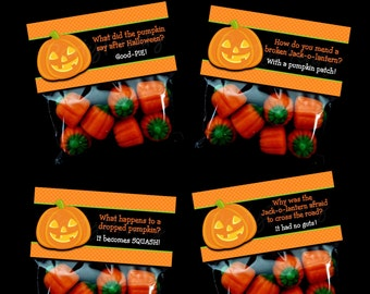 INSTANT DOWNLOAD - Printable Halloween Joke Treat Bag Toppers