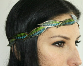 Women's Leather Headband, Turquoise & Lime Green Leaves, Gifts for Her
