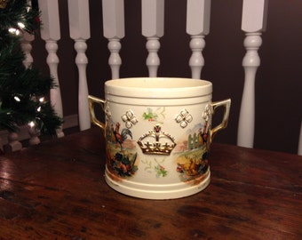Antique Ice Bucket Stoneware BP&L CBR Decorated in a Crown and Chicken Scenes...Mystery Item