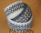 Felted Basket Nesting Bowls in Grey Gingham - Crochet PATTERN - PDF 3525