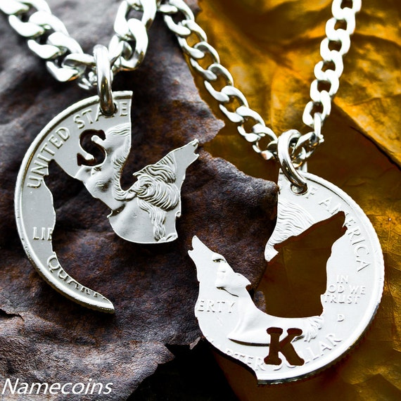 Custom Made Sossi Jewelry Home: Wolf Necklaces For 2 Howling Wolves Custom Initial Jewelry