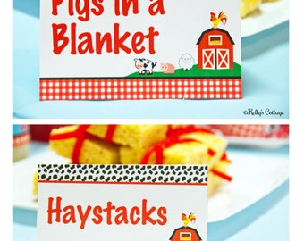 Barnyard Birthday Party Labels, Instant Download, Printable, Food Tags, Place Cards, Party Signs