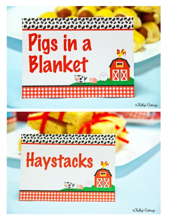 Barnyard birthday party labels instant download printable food tags