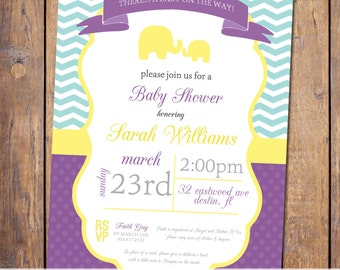 gender neutral purple yellow teal baby shower invites item322